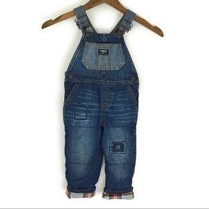 Oshkosh Denim Overalls Plaid Flannel Lined